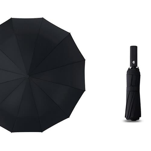3 fold automatic umbrella for wind-black