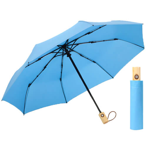 Auto open and auto close 3 folding umbrella with wooden handle blue