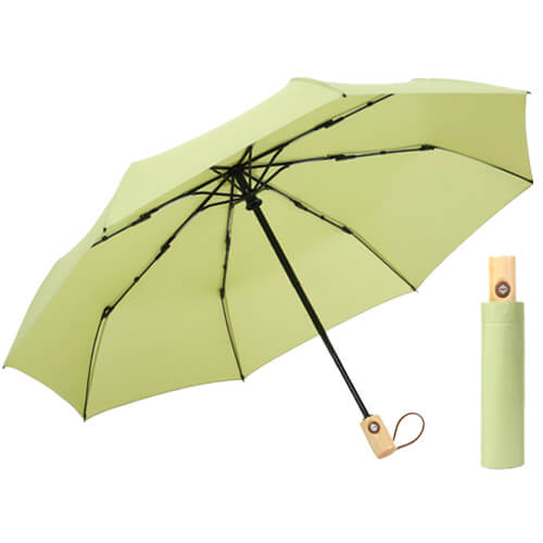 Auto open and auto close 3 folding umbrella with wooden handle green