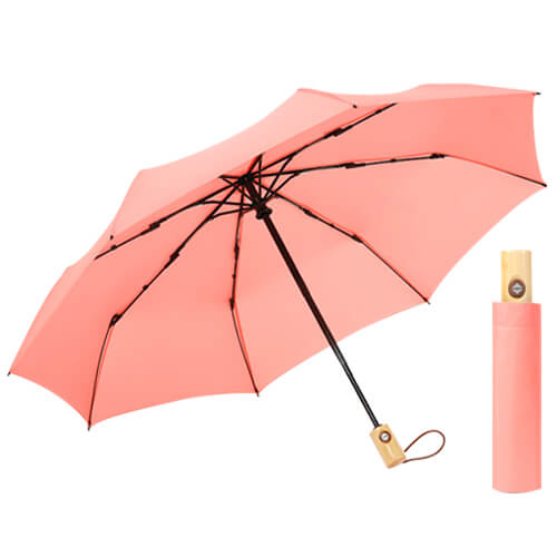 Auto open and auto close 3 folding umbrella with wooden handle red