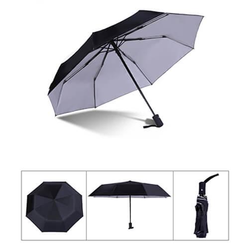 Auto open and close 3 fold silver umbrella-black