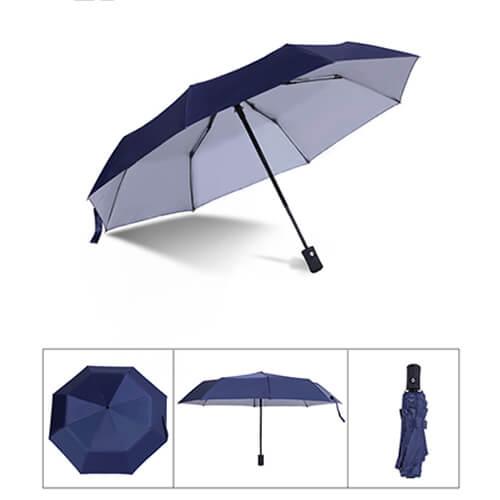 Auto open and close 3 fold silver umbrella-blue