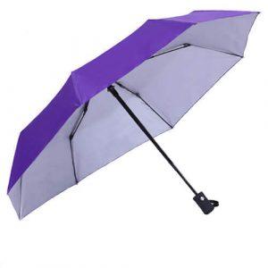 Auto open and close 3 fold silver umbrella-purple