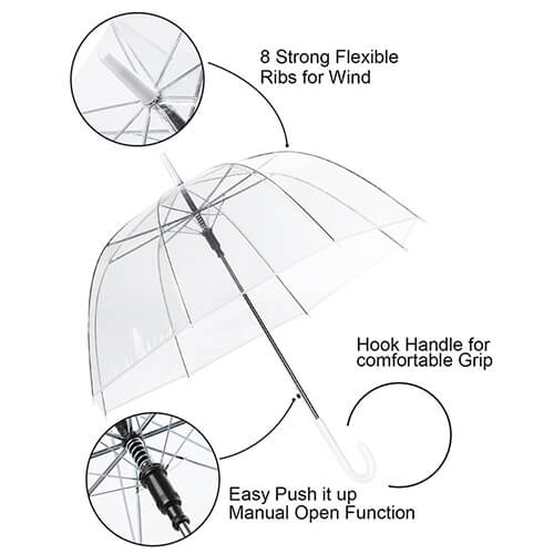 Hot selling high quality automatic vinyl transparent wholesale clear umbrella