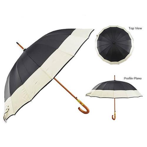 J handle automatic wooden straight umbrella 1