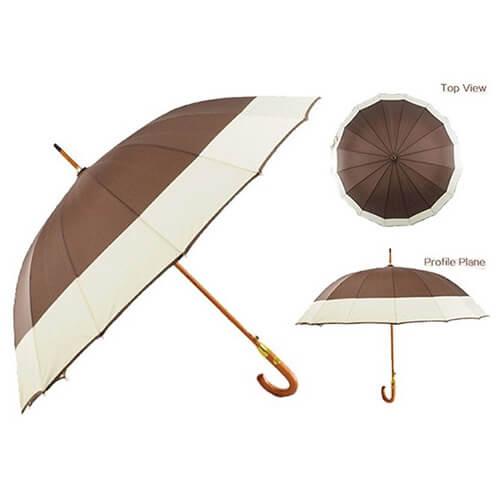 J handle automatic wooden straight umbrella 3