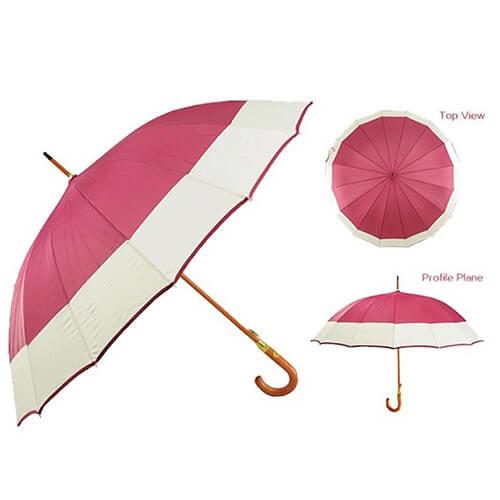 J handle automatic wooden straight umbrella 4