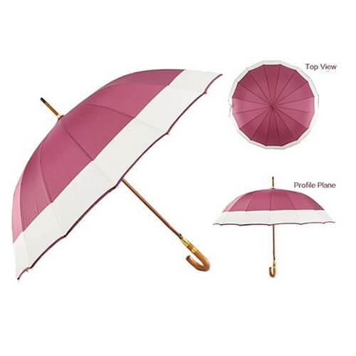 J handle automatic wooden straight umbrella 5