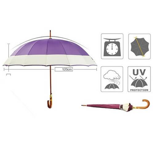 J handle automatic wooden straight umbrella 6