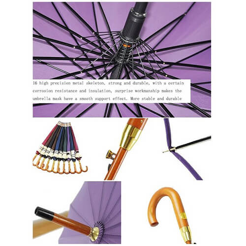 J handle automatic wooden straight umbrella