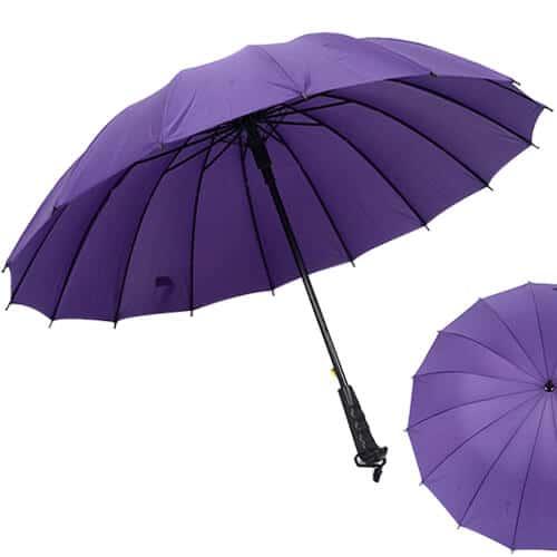 Multi-colour-Rainbow-Umbrella-Sun-Rain-Windproof-With-Straight-Handle-Purple