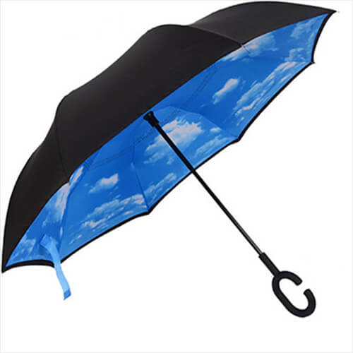 Upside Down C Hands Free Handle Double Layer Inverted Umbrella11