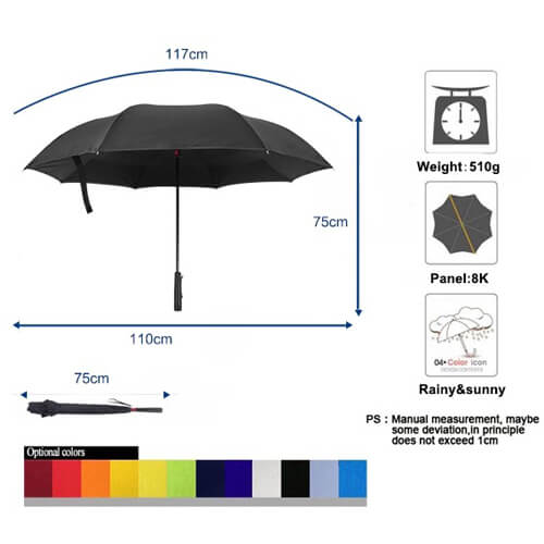 reverse umbrella with flashlight